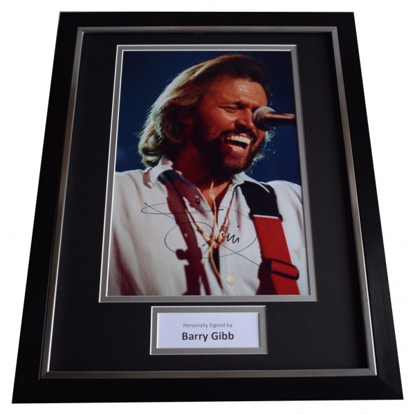 Barry Gibb SIGNED FRAMED Photo Autograph 16x12 display BeeGees Music AFTAL  COA Memorabilia PERFECT GIFT