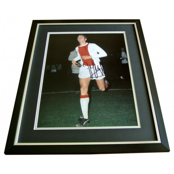 JOHAN CRUYFF HAND SIGNED & FRAMED AUTOGRAPH PHOTO MOUNT DISPLAY AJAX GIFT & COA  PERFECT GIFT