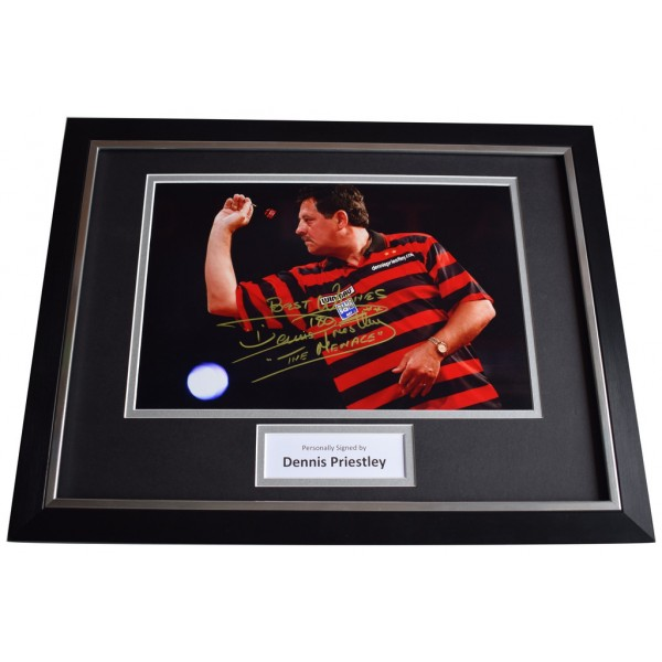 Dennis Priestley SIGNED FRAMED Photo Autograph 16x12 display Darts    AFTAL  COA Memorabilia PERFECT GIFT