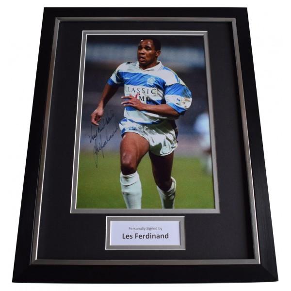 Les Ferdinand SIGNED FRAMED Photo Autograph 16x12 display Queens Park Rangers AFTAL  COA Memorabilia PERFECT GIFT
