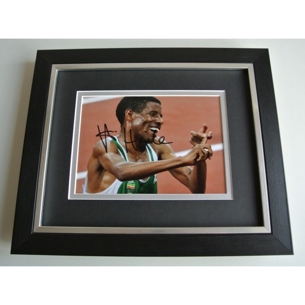Haile Gebrselassie SIGNED 10x8 FRAMED Photo Autograph Display Marathon & COA      PERFECT GIFT