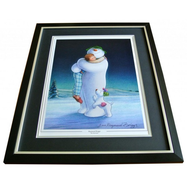 RAYMOND BRIGGS HAND SIGNED & FRAMED AUTOGRAPH PHOTO DISPLAY SNOWMAN GIFT & COA  PERFECT GIFT