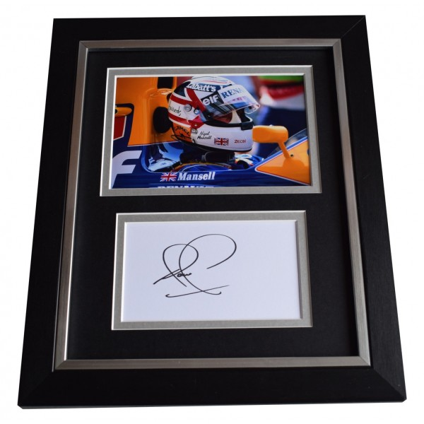 Nigel Mansell SIGNED 10x8 FRAMED Photo Autograph Display Formula 1 Racing  AFTAL  COA Memorabilia PERFECT GIFT