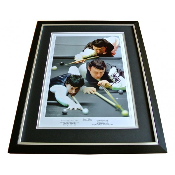JIMMY WHITE HAND SIGNED & FRAMED AUTOGRAPH PHOTO DISPLAY SNOOKER GIFT PROOF COA