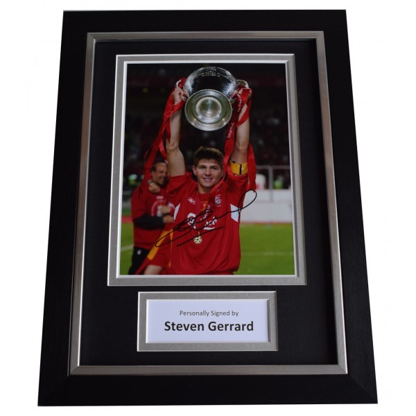 Steven Gerrard Signed A4 FRAMED Autograph Photo Display Liverpool Football AFTAL  COA Memorabilia PERFECT GIFT