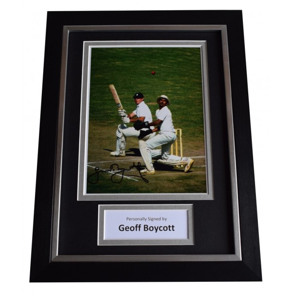 Geoff Boycott Signed A4 FRAMED Autograph Photo Display Cricket Sport AFTAL  COA Memorabilia PERFECT GIFT