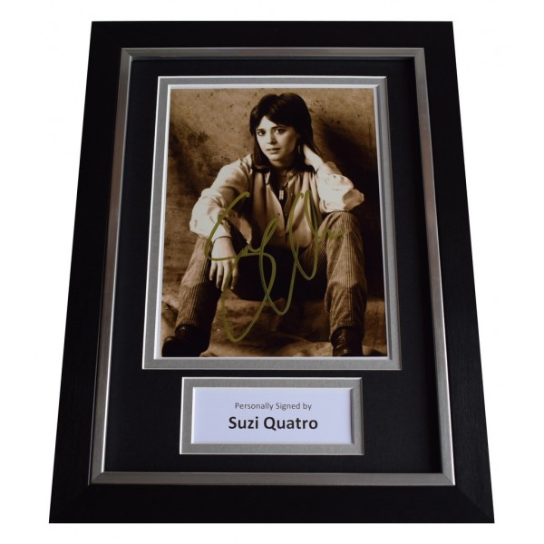 Suzi Quatro Signed A4 FRAMED Autograph Photo Display Music AFTAL  COA Memorabilia PERFECT GIFT