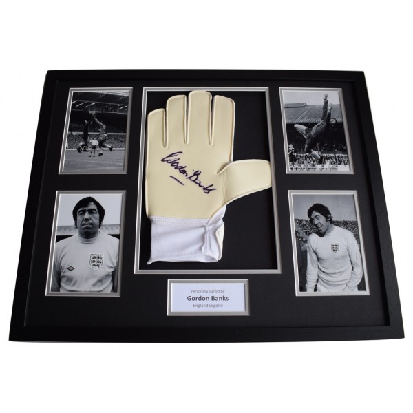 Gordon Banks Signed FRAMED Goalkeeper Glove HUGE photo display England   AFTAL  COA Memorabilia PERFECT GIFT
