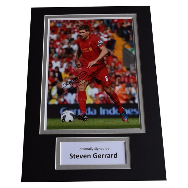 Steven Gerrard Signed Autograph A4 photo display Liverpool Football   AFTAL  COA Memorabilia PERFECT GIFT
