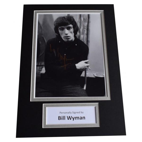 Bill Wyman Signed Autograph A4 photo display Rolling Stones Music  AFTAL  COA Memorabilia PERFECT GIFT