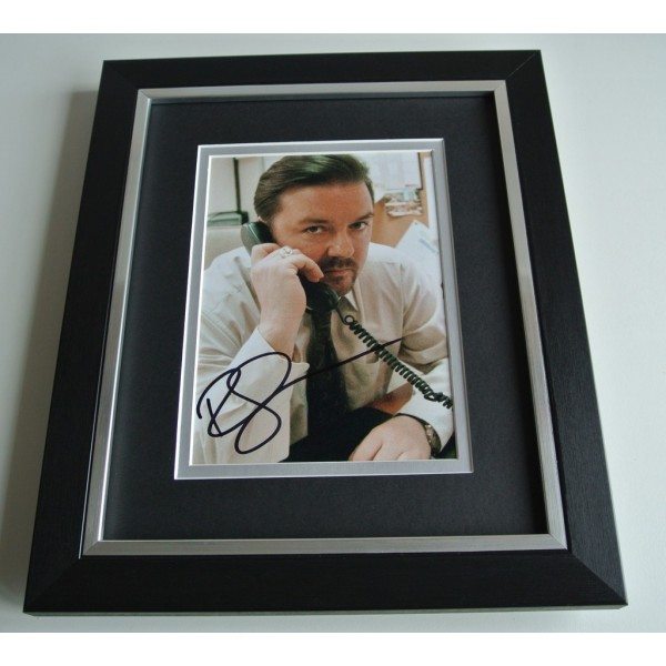 Ricky Gervais SIGNED 10x8 FRAMED Photo Autograph Display The Office TV & COA     PERFECT GIFT