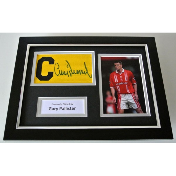 Gary Pallister SIGNED FRAMED Captains Armband A4 photo Display Middlesbrough COA PERFECT GIFT