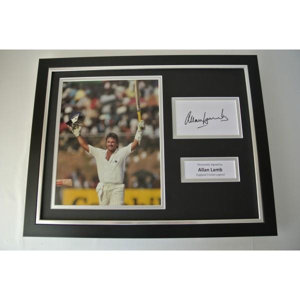 Allan Lamb SIGNED FRAMED Photo Autograph 16x12 display England Cricket & COA PERFECT GIFT