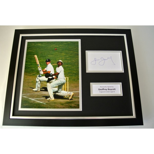Geoffrey Boycott SIGNED FRAMED Photo Autograph 16x12 display Cricket PROOF & COA PERFECT GIFT