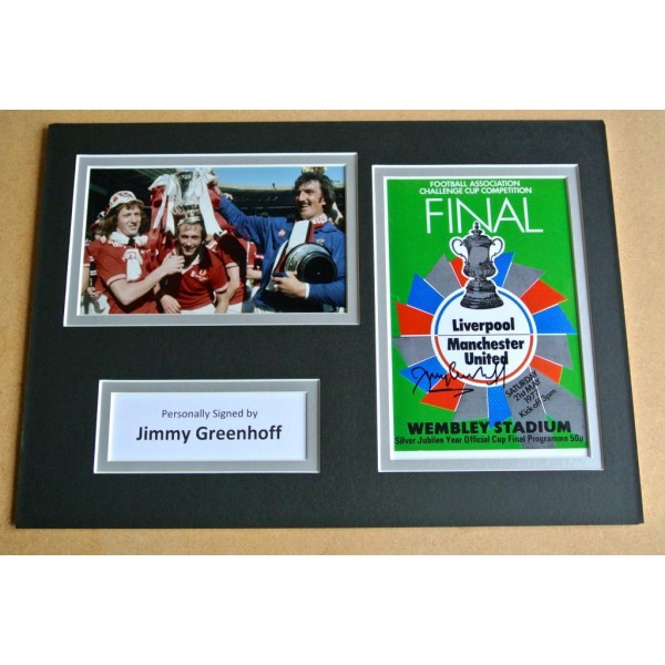JIMMY GREENHOFF HAND SIGNED AUTOGRAPH A4 PHOTO DISPLAY MANCHESTER UTD GIFT & COA AFTAL SPORT Memorabilia