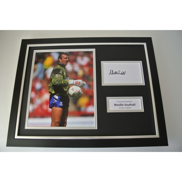 Neville Southall SIGNED FRAMED Photo Autograph 16x12 display Everton PROOF COA PERFECT GIFT