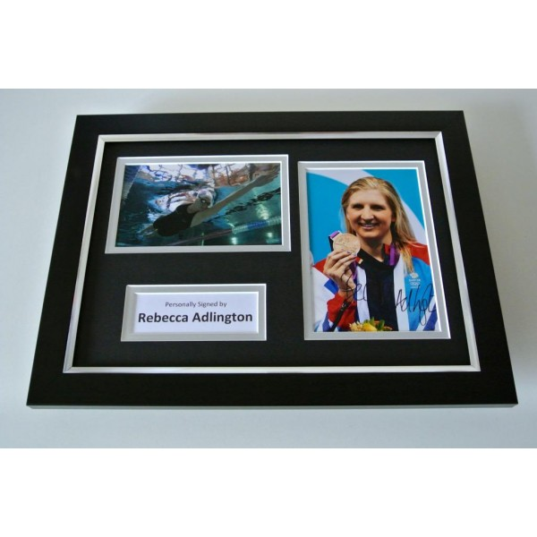 Rebecca Adlington SIGNED A4 FRAMED Photo Autograph Display Olympic Swimming COA PERFECT GIFT