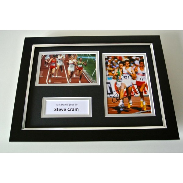 Steve Cram SIGNED A4 FRAMED Photo Autograph Display Olympic Athletics & COA PERFECT GIFT