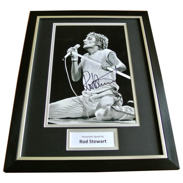 ROD STEWART HAND SIGNED & FRAMED AUTOGRAPH PHOTO MOUNT DISPLAY FACES GIFT & COA     PERFECT GIFT