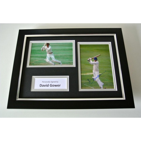 David Gower SIGNED A4 FRAMED Photo Autograph Display England Cricket & COA PERFECT GIFT