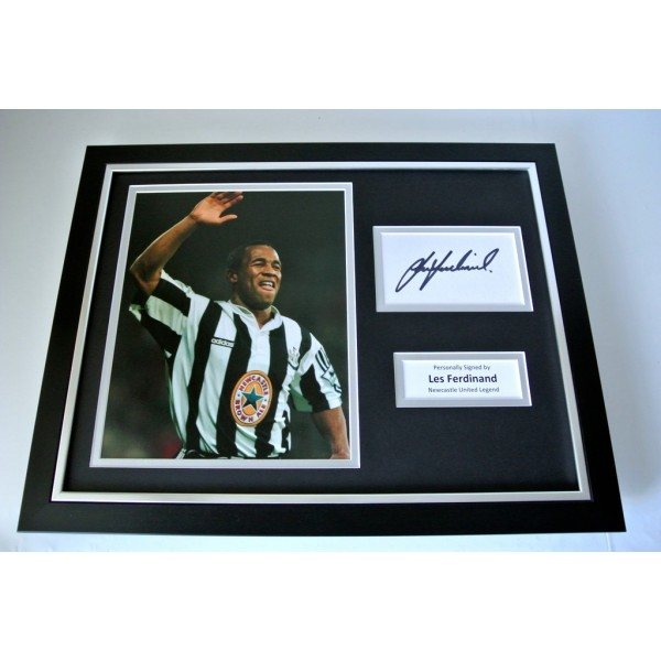 Les Ferdinand SIGNED FRAMED Photo Autograph 16x12 display Newcastle United & COA      PERFECT GIFT