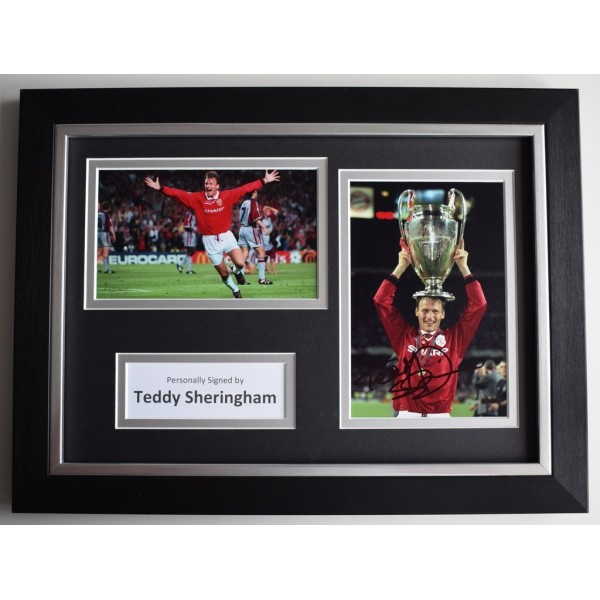 Teddy Sheringham Signed A4 FRAMED photo Autograph display Manchester United  AFTAL  COA Memorabilia PERFECT GIFT