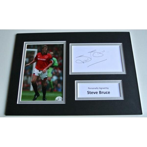 Steve Bruce SIGNED autograph A4 Photo Mount Display Manchester United  AFTAL & COA Memorabilia PERFECT GIFT