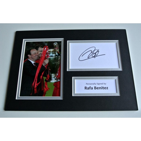 Rafa Benitez  SIGNED autograph A4 Photo Mount Display Liverpool Football & COA AFTAL MEMORABILIA