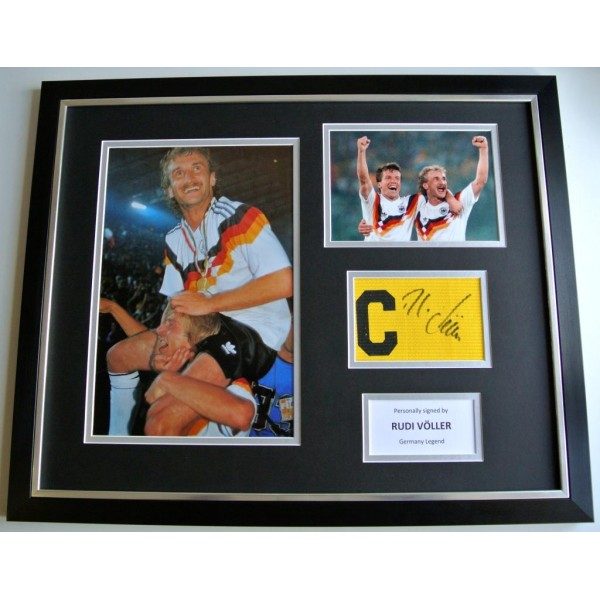 Rudi Voller SIGNED FRAMED Huge Captains Armband Photo Display Germany & COA PERFECT GIFT