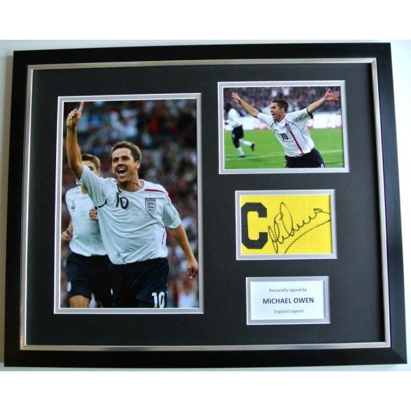 Michael Owen SIGNED FRAMED Huge Captains Armband Display England Football & COA  PERFECT GIFT
