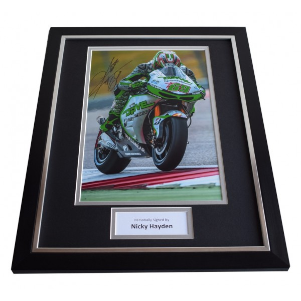 Nicky Hayden SIGNED FRAMED Photo Autograph 16x12 display Superbikes AFTAL & COA Memorabilia PERFECT GIFT