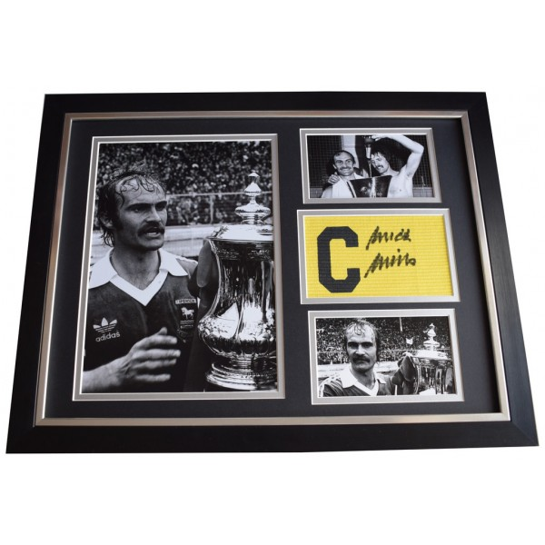 Mick Mills SIGNED FRAMED Armband & Photo Autograph 16x12 display Ipswich Town   AFTAL  COA Memorabilia PERFECT GIFT