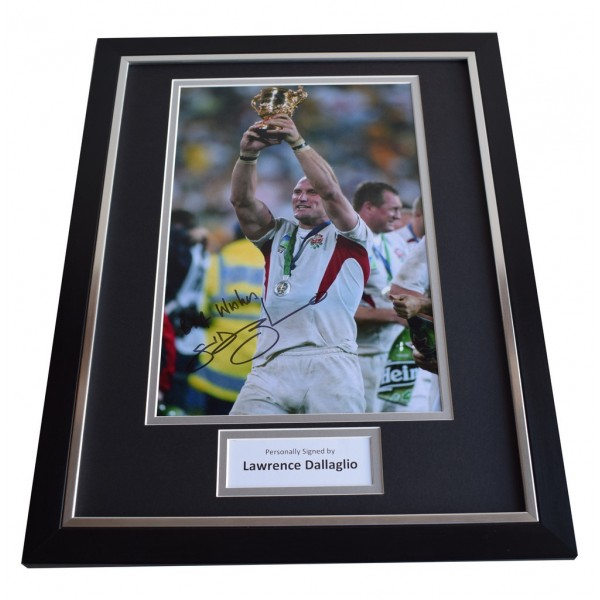 Lawrence Dallaglio SIGNED FRAMED Photo Autograph 16x12 display England Rugby  AFTAL & COA Memorabilia PERFECT GIFT