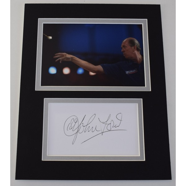 John Lowe Signed Autograph 10x8 photo mount display Darts Sport  AFTAL  COA Memorabilia PERFECT GIFT