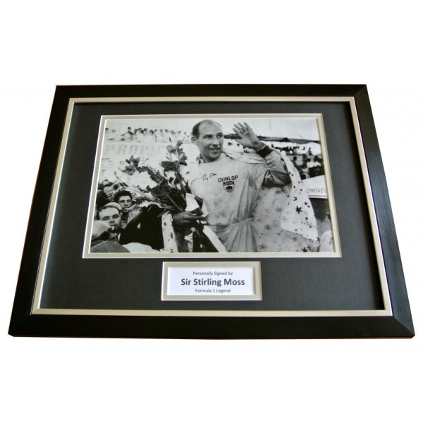 SIR STIRLING MOSS SIGNED & FRAMED AUTOGRAPH PHOTO DISPLAY FORMULA 1 GIFT & COA    PERFECT GIFT