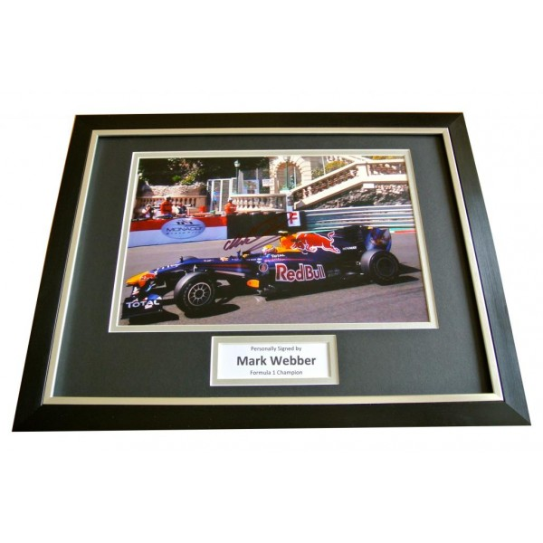 MARK WEBBER HAND SIGNED & FRAMED AUTOGRAPH PHOTO DISPLAY FORMULA 1 F1 GIFT & COA       PERFECT GIFT