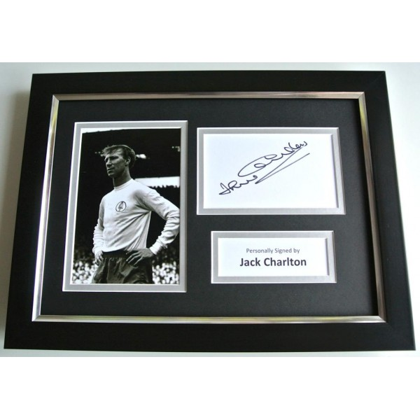 Jack Charlton SIGNED A4 FRAMED Photo Autograph Display Leeds United & COA PERFECT GIFT