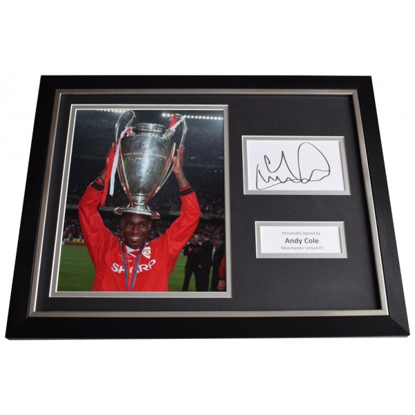 Andy Cole Signed FRAMED Photo Autograph 16x12 display Manchester United  AFTAL  COA Memorabilia PERFECT GIFT
