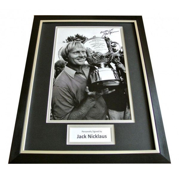JACK NICKLAUS hand SIGNED & FRAMED Huge Photo Display Autograph GOLF open & COA  PERFECT GIFT