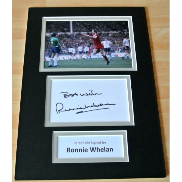 RONNIE WHELAN HAND SIGNED AUTOGRAPH A4 PHOTO MOUNT DISPLAY LIVERPOOL GIFT & COA AFTAL SPORT FOOTBALL  Memorabilia    PERFECT GIFT