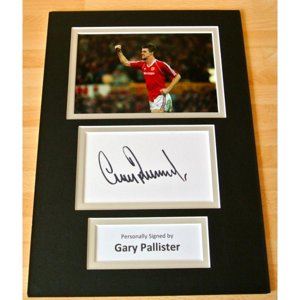 Gary Pallister hand SIGNED autograph A4 Photo Mount Manchester United GIFT & COA  AFTAL FOOTBALL SPORT   Memorabilia    PERFECT GIFT