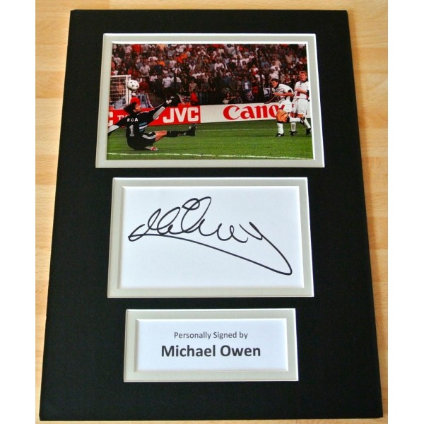 Michael Owen genuine hand SIGNED autograph A4 Photo Mount England GIFT & COA PERFECT GIFT