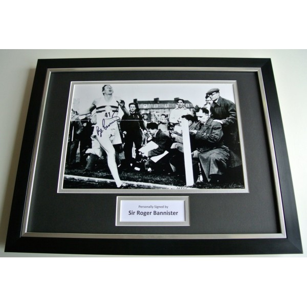 Roger Bannister SIGNED FRAMED Photo Autograph 16x12 display 4 Minute Mile PERFECT GIFT