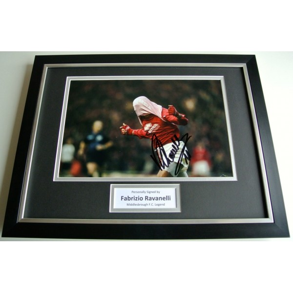 Fabrizio Ravanelli SIGNED FRAMED Photo Autograph 16x12 display Middlesbrough COA PERFECT GIFT