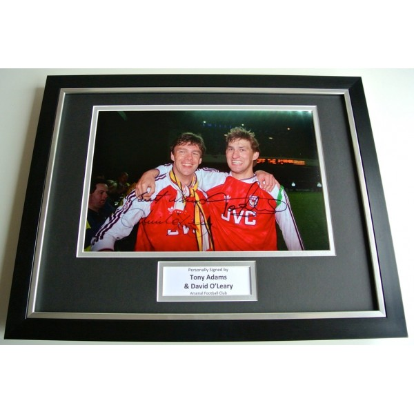 Tony Adams & O'Leary SIGNED FRAMED Photo Autograph x2 16x12 display Arsenal COA PERFECT GIFT