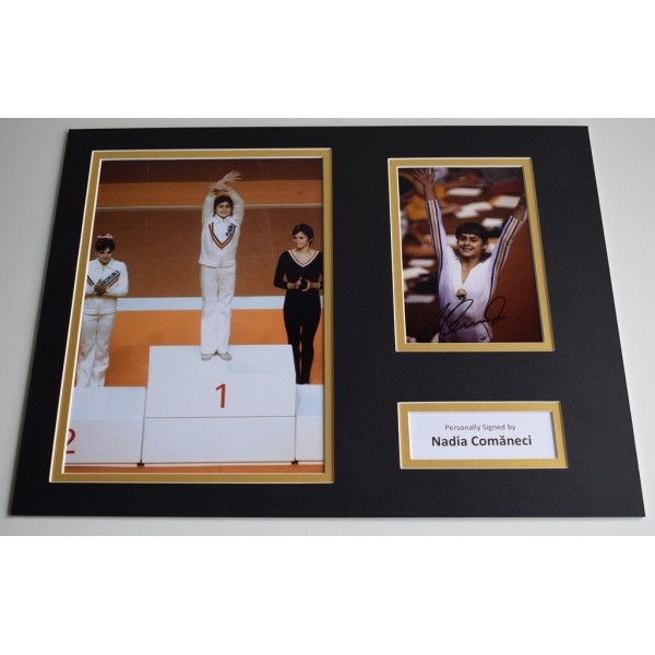 Nadia Comaneci SIGNED autograph 16x12 photo display Olympics 1976 AFTAL & COA Memorabilia PERFECT GIFT