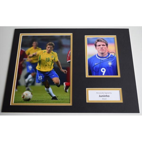 Juninho SIGNED autograph 16x12 photo display Brazil AFTAL & COA Memorabilia PERFECT GIFT