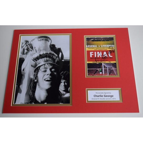 Charlie George SIGNED autograph 16x12 photo display Arsenal  AFTAL & COA Memorabilia PERFECT GIFT