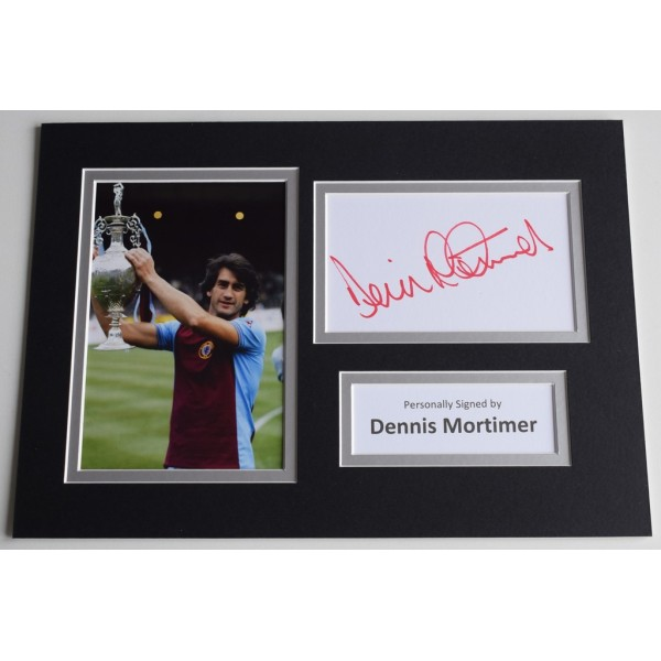 Dennis Mortimer Signed Autograph A4 photo display Aston Villa Football   AFTAL  COA Memorabilia