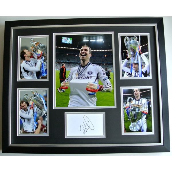 Petr Cech SIGNED FRAMED Photo Autograph Huge display Chelsea Goalkeeper & COA   PERFECT GIFT
